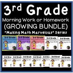 "3rd Grade Daily Math Morning Work/Homework -Days 1-45, so far,  GROWING BUNDLE***GROWING Bundle- This means you get 3 sets now and 9 sets more to come! That means you are only paying for 3 sets but will receive the next 9 sets for FREE! HUGE Savings!Each time I add a new set,the price goes up!NOTE: These sets are also sold separately! 3rd Grade Daily Math Morning Work or Homework -Days 1-153rd Grade Math Days 16-30Days 31-45 Math Grade 3 I'm launching my new series, ""Making Math…"