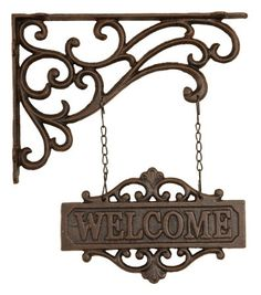 Welcome guests with this old world cast iron sign. 'Welcome' Cast Iron Hanging Sign . Primitive Garden Decor, Jugendstil Design, Wrought Iron Decor, Iron Furniture, Iron Art, Pergola Shade, Black Pergola, Country Crafts, Pergola Kits