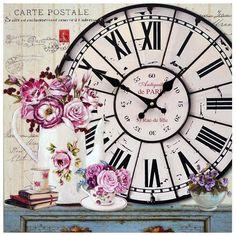 AuBergewohnlich Wanduhr Rosen Antiquite De Paris Shabby Chic Bunt Rechteckig 40x40cm Deko  Uhr