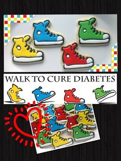 Shoe cookies~          by SugarTreeCookies, tennis shoes, converse, red, Blue, green, Yellow