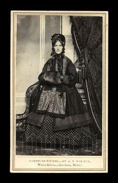 Civil War Era Fashion CDV Gardiner Maine Woman in Bonnet & Amazing Winter Dress