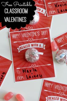 Free printable kids' classroom Valentines, just attach a Hershey's Kiss and you're ready to go! See more free printables and party ideas at CatchMyParty.com. #freeprintables #kidsactivities #valentinesday