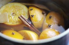 AIR FRESHENER:  Apple/orange slices or peels  2 t vanilla  spices: cinnamon, nutmeg, cloves (whole or ground)  cranberries optional  Fill a small saucepan halfway with water. Add in peels, spices, and berries, bring to a boil over medium heat, reduce heat to very low and allow to simmer. Pay very close attention, refilling with water as necessary. Never leave unattended! Discard after two days.