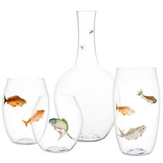 Lobmeyr Balloon Tumblers with Painted Fish