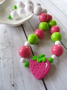 Strawberry chunky necklace, bubblegum necklace, strawberry shortcake in pink and green by PaigeandPenelope, $22.00