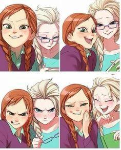 Anna and Elsa selfies. Cute~
