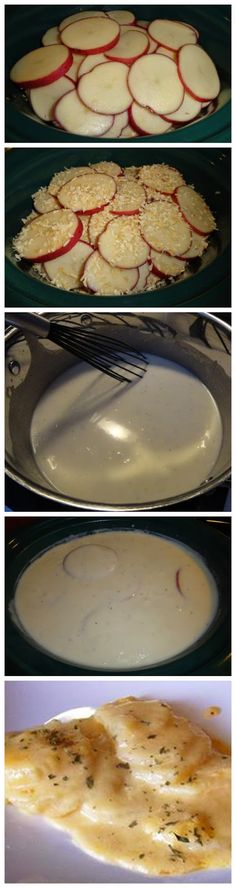 Creamy Au Gratin Potatoes for the Crock-Pot. I used 7-8 taters and a full stick of butter.