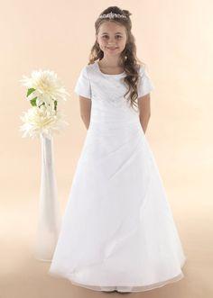 Elegant A-line Organza Overlay Communion Dress with Sleeves - New 2015 - LUNA - Linzi Jay First Communion Dress age 6 8 years - Girls Communion Dress