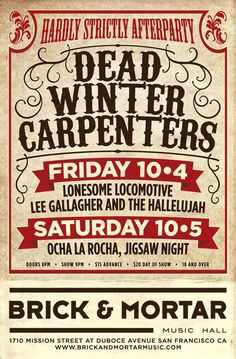 I'm playing with Ocha La Rocha and we are playing with Dead Winter Carpenters at The Hardly Strictly Afterparty at The Brick & Mortar Music Hall in San Francisco, October 5! https://www.facebook.com/events/179582102225133/