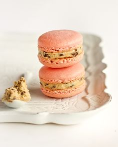 making these asap. Strawberry Milk Macarons with Cookie Dough Buttercream
