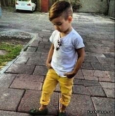 Kid style-- yellow pants and a white tee