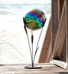 "Cattail Stand for Gazing Ball (28.5"" high; $39.95 for stand, $39.95 for ball)"