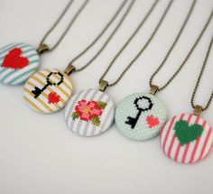 Floral Cross Stitch Pendant Necklace by BobbySoxie on Etsy