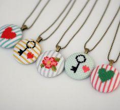 Floral Cross Stitch Pendant Necklace by BobbySoxie on Etsy