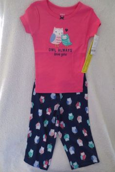 acd130136 Carter's Baby Girl 2 Piece Set Size 18 Months Owl Sleepwear New #Carters  #TwoPiece