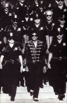 Pontiac Police Department with Michael Jackson while supporting The Jacksons' 1984 Victory Tour. A few seconds of the footage are on YouTube.