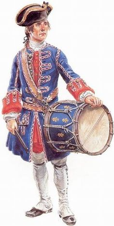 "We often see these drummers at annual events in Ste. Genevieve, Missouri. Drummer of the Compagnies franches de la Marine in New France, 1755-1760 - ""Drummers were often distinctively dressed to make them easy to spot in the heat of battle."""