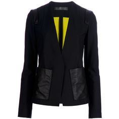 PROENZA SCHOULER Blazer (1,995 CAD) ❤ liked on Polyvore featuring outerwear, jackets, blazers, black, proenza schouler, black blazer, wool blend jacket, proenza schouler jacket and black jacket