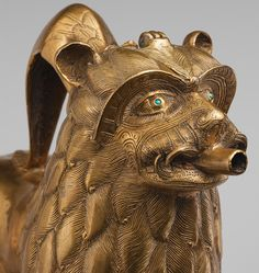 Aquamanile in the Form of a Lion, ca. 1200; North German, Copper alloy with inlaid glass