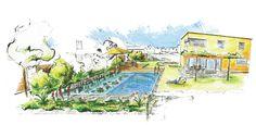 #Gartenplanung #Schwimmteichplanung Entwurf Perspektive, Plan, Schwimmteich, Badeteich, Draft in perspective, Sketch, Plan, Nature pool, Salamander Naturgarten