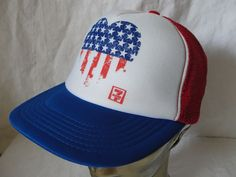 7 Eleven Red White Blue Stars   Stripes Flag Heart Trucker Snapback Hat Cap   7Eleven 61fc63787c88