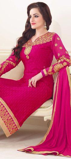 441177: Pink and Majenta color family unstitched Party Wear Salwar Kameez .