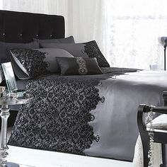 Star by Julien Macdonald Silver 'Chantelle' lace bed linen- at Debenhams. Lace Bedding, Bedding Sets, Linen Duvet, Bed Linen Design, Bed Design, Home Bedroom, Bedroom Decor, Bedroom Ideas, Julien Macdonald