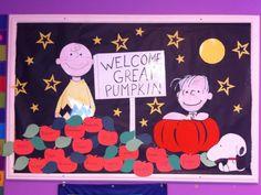 Charlie Brown themed bulletin board