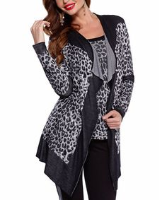 Look what I found on #zulily! Snow Leopard Open Cardigan & Tank by Belldini #zulilyfinds
