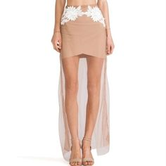 NWT For Love & Lemons Balmy Nights Skirt XS RARE & NWT- maxi skirt, invisible zipper. sewn-in nude lining. No flaws, just haven't worn it. Will trade for other FLL not sure that I want to part with this piece so please be respectful with offers For Love and Lemons Skirts Maxi