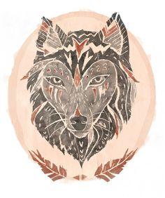 Heart Wolf Art Print