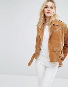 Buy Noisy May Suede Biker Jacket at ASOS. Get the latest trends with ASOS now. Tan Jacket, Suede Jacket, Moto Jacket, Coats For Women, Jackets For Women, English Clothes, Biker Leather, Leather Jackets, Mode Boho
