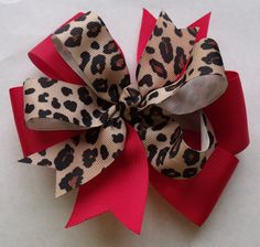 Hair Bow  Red with Leopard Print Grosgrain Ribbon