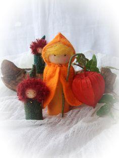 Waldorf gnome, Chinese lantern flower child with Moss gnomes, Autumn, Fall, Green, orange, natural gnome, autumn natural scene decoration. £21.50, via Etsy.