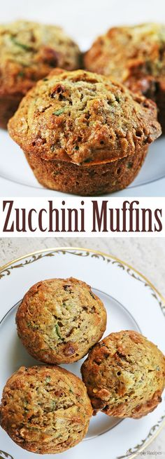 The BEST zucchini bread muffins EVER! Moist, sweet, packed with shredded zucchini, walnuts, dried cranberries, and spiced with vanilla, cinnamon and nutmeg. On SimplyRecipes.com #Zucchini #Muffins #Snack #Baking