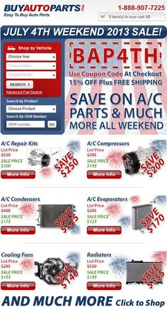 SAVE BIG THIS 4TH OF JULY!!! 15% off when you use coupon code BAP4TH at www.buyautoparts.com FREE SHIPPING on orders over $50. Offer valid 7/2/13 thru 7/7/13. #4thofjuly