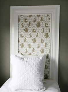 Newport Harbor Home Tour-- frame with Star Wars wallpaper inset --Mock Headboard