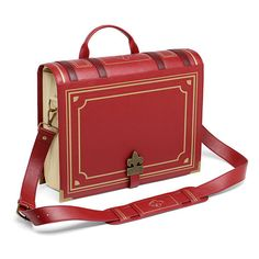 Olde Book Messenger Bag (155 BRL) ❤ liked on Polyvore featuring bags, messenger bags, purses, laptop messenger bags, tote bag, red satchel handbags, satchel tote and red tote handbag