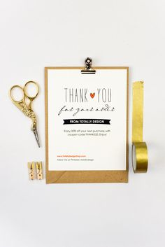 Print-at-home Thank You for Your Order card...perfect addition to your package to your customers