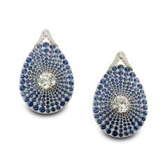 SABBA. A pair of sapphire and diamond ear pendants.