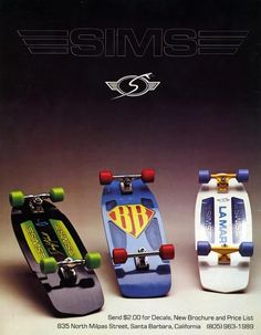 Old school sims skateboards ad