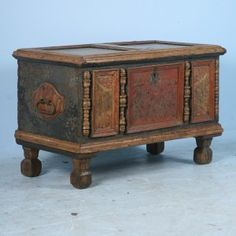 Painting an Old Trunk   Amazing Antique Romanian Pine Trunk Chest Ornate Paint and Carving C ...