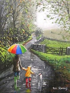 "PETE RUMNEY FINE ART ORIGINAL OIL ACRYLIC PAINTING DOG RAINDROPS DOWN THE LANE "" Just placed this in ebay shop, click on image to see """