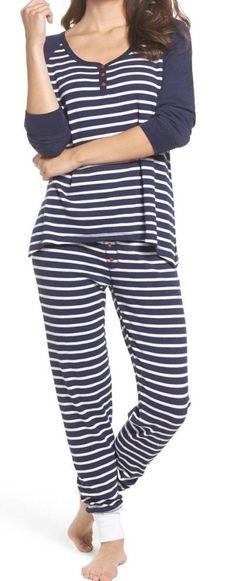 e0b24c4da4 New PJ Salvage Navy Blue White STRIPES THERMAL Pajama Lounge Ski Set L   fashion  clothing  shoes  accessories  womensclothing  intimatessleep  (ebay link)