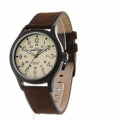 Timex Men's Expedition Scout Brown Leather Strap Watch ITEM 16049489 Rugged yet classy, this Timex men's Expedition comes with a rough and t Timex Watches, Men's Watches, Timex Expedition, Brown Leather Strap Watch, Online Watch Store, Watches For Men, Mens Fashion, Shopping, Easy Reader