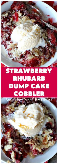 Strawberry Rhubarb Dump Cake Cobbler | Can't Stay Out of the Kitchen | this fantastic #cobbler is oven ready in 5 minutes! It's perfect for backyard #BBQs, potluck dinners or #holidays like #MothersDay or #FathersDay. #dessert #strawberry #rhubarb #dumpcake #vegan Rhubarb Dump Cakes, Strawberry Rhubarb Recipes, Strawberry Rhubarb Crisp, Strawberry Sauce, Potluck Dinner, Potluck Desserts, Just Desserts, Dessert Recipes, Cake Cookies