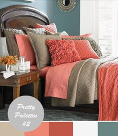 bedroom palette? (the coral is against my will, but want to use the curtains - tan/yellow & coral - that are already here)