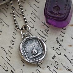 Snail Wax Seal Charm Necklace - Always with Me - Snail Pendant made from a french wax seal intaglio, Home Sweet Home