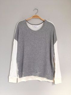 VELVET By Graham & Spencer Noely Color Block Slit Waffle Knit Pullover Top Grey #VelvetbyGrahamSpencer #Sweatshirt #Casual