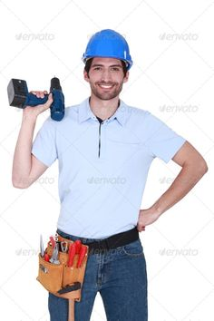 happy craftsman holding a drill ...  belt, blue, build, builder, carpenter, caucasian, cheerful, close-up, construction, contractor, craftsman, drill, electrical, equipment, fix, foreman, friendly, full, gear, hammer, handsome, handyman, hardhat, hat, industrial, industry, job, journeyman, maintenance, man, occupation, person, plumber, professional, protection, repair, repairman, safety, screwdriver, smile, tool, tool-belt, tools, trade, tradesman, uniform, white, work, worker, workman